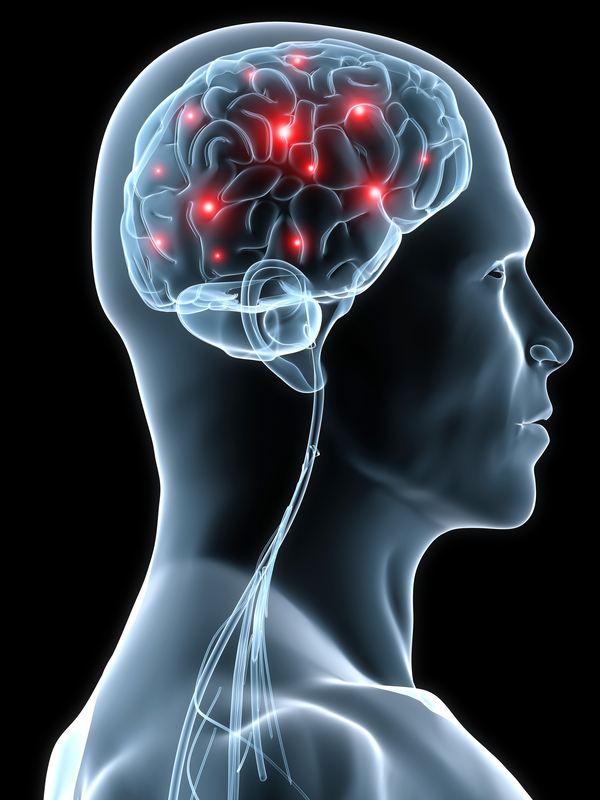 An illustration of a a man's brain with several red dots flaring off. These may be neurological issues.