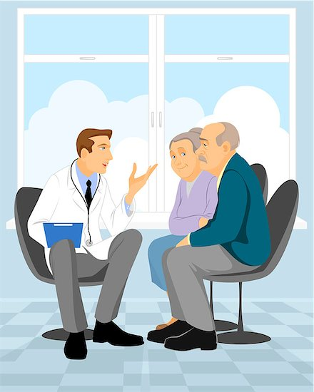 A graphic illustration of a doctor discussing HIV treatments with two elderly patients.