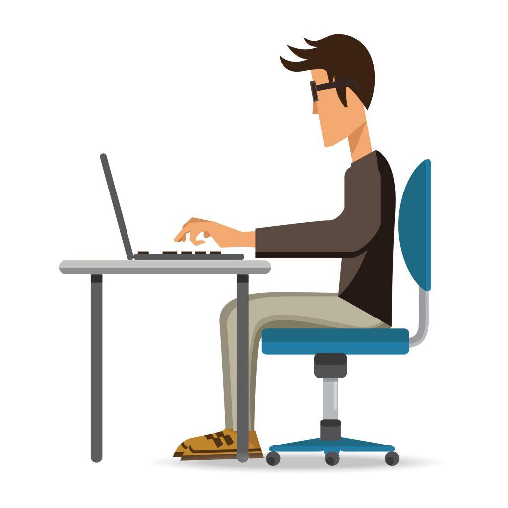 Man working at laptop.