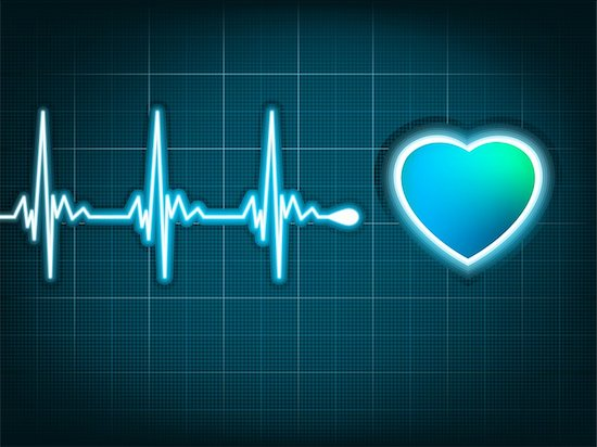 The screen of an EKG machine, showing the line moving towards a cartoon image of a heart. This patient shows no risk of heart attack.