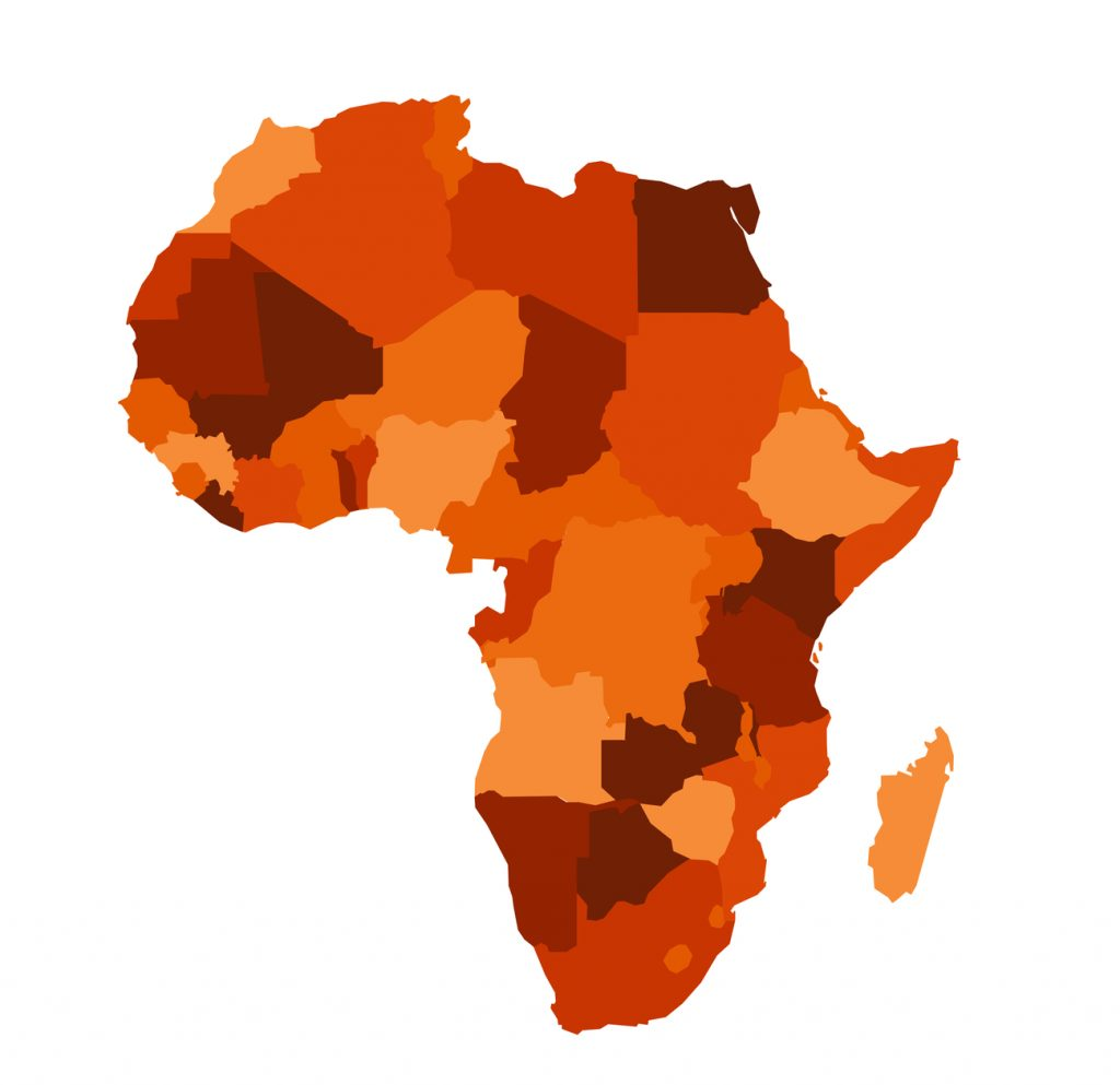 A map of Africa. In the sub-Saharan region, there is an epidemic of people living with HIV.