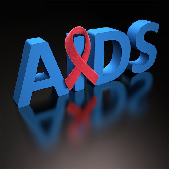 "The word ""AIDS,"" which is the last stage in the progression of HIV, is in 3D letters."